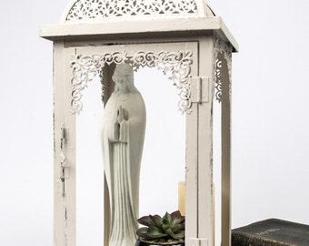Metal Display Case / Religious Shrine / Lantern Candleholder Refurbished Oyster White French Nordic Decor Tabletop Decor