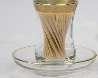 Toothpick Holder with Gold Plated Band in Saucer / Elegant Dining