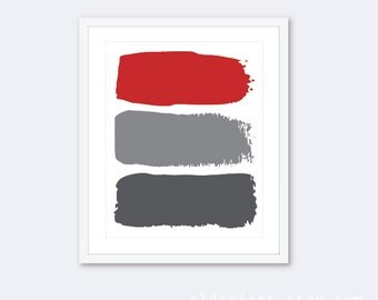 Modern Decor - Abstract Print - Minimalist Home Decor - Brushstroke Print - Contemporary Wall Art - Red and Gray Art - Aldari Art