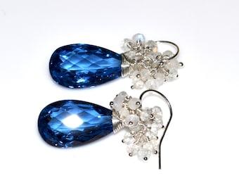 LP 1312  London Blue Lab Topaz And Rainbow Moonstone Drop Earrings