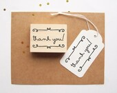 Thank You Stamp with Swirls - Simple Thank You Rubber Stamp