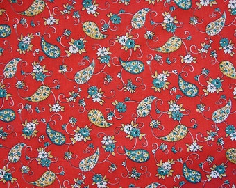 Vintage Fabric 1960s Paisley Fabric Mod Red Floral Fabric by the Yard
