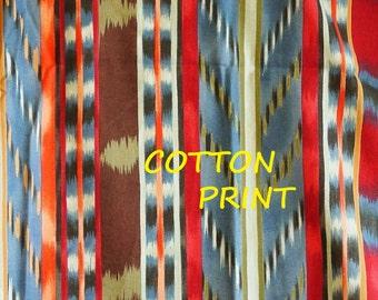Gray Red Brown Stripe Print, Quilting Cotton Fabric, Alexander Henry, Tiger Stripe Kelim, half yard, B7