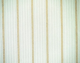 Gold Thread Cream Stripe, 1980s Vintage, Textured Semi Sheer, Fashion or Home Decor Fabric, Lightweight Polyester, half yard, B20