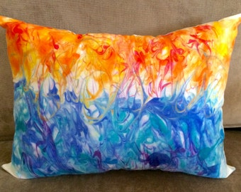 Artsy Pillow, Hand Painted Pillow, Abstract Art Pillow, Decorative Art Pillow, Fire and Water Abstract, Hand Painted Fabric