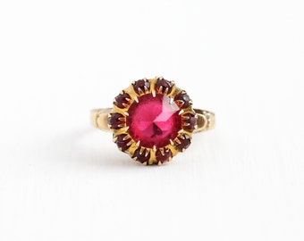 Sale - Vintage 10k Yellow Gold Simulated Ruby Cluster Ring - Art Deco 1930s 1940s Size 7 Red Glass Stone Fine Halo Statement Jewelry