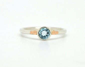 Sky Blue Topaz Solitaire Ring