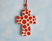 Small Cross Ornament Hand Painted Red and White Polka Dots Design