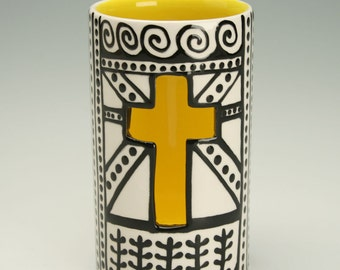 Cross Luminary Candle Holder, Ceramic Cross Votive Candleholder, Day Of The Dead Decoration