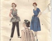 1950s Apron House Dress Quick & Easy to Sew Back Button Butterick 7052 Size 18 Bust 36 Womens Vintage Sewing Pattern Vintage Apron Pattern