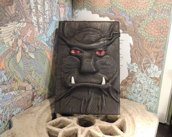 Mythical Beast Book (Dark Grey leather with Red eyes and Tusks)