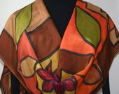 Silk Scarf Brown ,Terracotta, Green Hand Painted Silk Scarf PICTURE PERFECT. Two Sizes. Silk Scarves Colorado. Mother Gift. Birthday Gift.