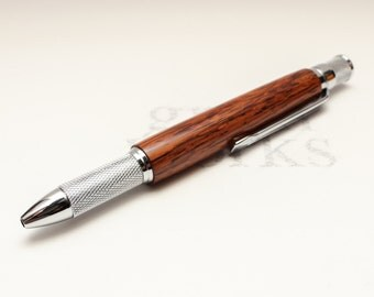 Wooden Ballpoint Pen - Knurl GT Style - Honduras Rosewood with Chrome Accents (Gift Ready)