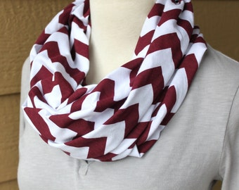 Chevron Infinity Scarf - Cranberry Red and White Chevron Cowl - Wine Chevron -Soft Jersey Knit Circle Scarf -Lightweight Infinity Loop Scarf