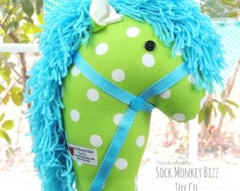 Kid's Toy Stick Horse, Raspberry Lime Polka Dot