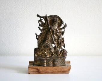 Durga Warrior Goddess Brass Sculpture