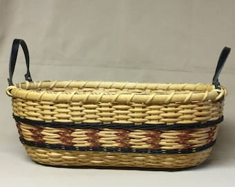 CUSTOM LISTING for Dena -  Oval Basket, Red Arrows Design, Black Accent Weaving and Leather Side Handles