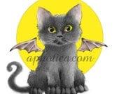 vampire kitten halloween card