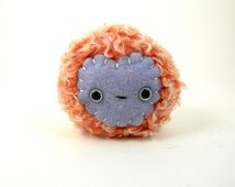 Stuffed Toy Ball - Monster Softie - Small Stuffed Monster - Kawaii Plush Monster - Stuffed Toy - Children's Gift - Peach and perriwinkle