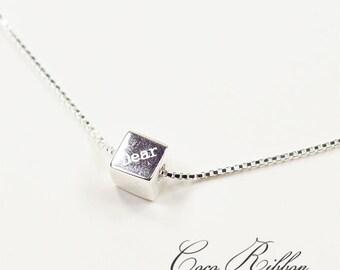 Sterling Silver 6mm Dear Cube Minimalist Delicate Necklace  - 16 inches E35
