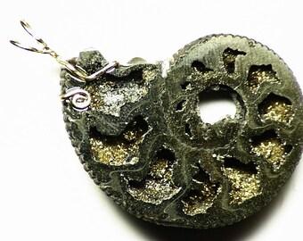 Pyrite Ammonite Pendant in 14k Gold