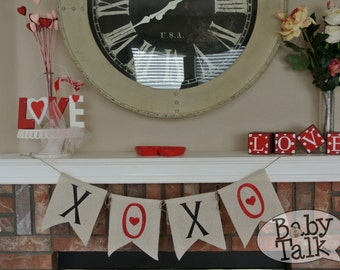 Valentine's Day XOXO Red Heart Glitter Burlap fabric Banner Bunting - love decor - mantel banner or great for photo props