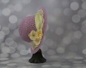 Tea Party Hat; Lavender Easter Bonnet with Ribbon; Girls Sun Hat; Lavender Easter Hat; Sunday Dress Hat; Derby Hat; 16274