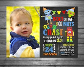 Robots Birthday Invitation, Printable File, Robots Photo Invitation, Chalkboard Invitation, Cute Robots, Chalk, Robots Birthday Party
