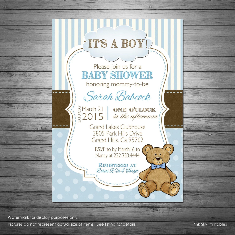 boy teddy bear baby shower invitation with free diaper raffle