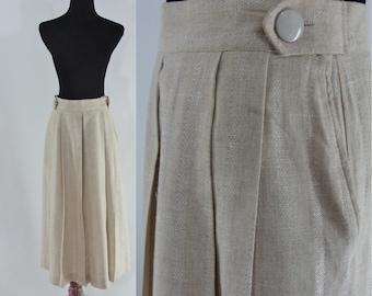 Vintage Eighties Skirt - 1980s Natural Linen Skirt - 80s Mid Length Skirt - Vintage Midi Skirt - Medium Skirt
