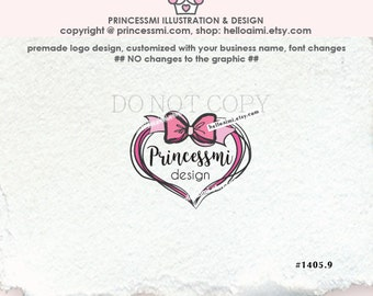 1405-9, bow Logo Design, custom big love heart logo design .pink ribbon logo , photography logo , gift shop logo