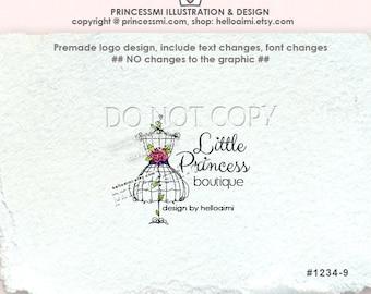 1234-9, boutique logo, Custom logo, Premade Logo Design - sketch hand drawn, lady dress , dummy logo , watermark , boutique logo