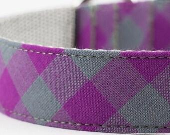 Purple Buffalo Plaid Dog Collar