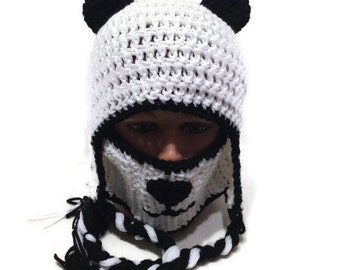 Panda Hat Panda Bear Face Mask and Ear Flap Winter Hat Novelty Panda hat Kawaii Panda beanie in Black and White