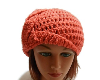 Braided Cloche Hat, Coral Braided Hat, Roaring 20s, Coral Cloche Hat, 20s Style Hat, Spring Cloche Hat, Coral Red Hat, Braided Hat, Cloche