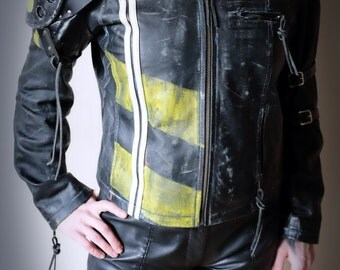 Apocalypse Jacket Real Leather - Black/yellow/ White - mad max, road warrior, burning man, cosplay, please read description for sizes