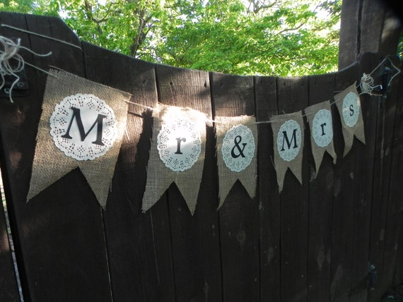Mr. and Mrs. Burlap Banner for Weddings and Photo Props-Ready to ship