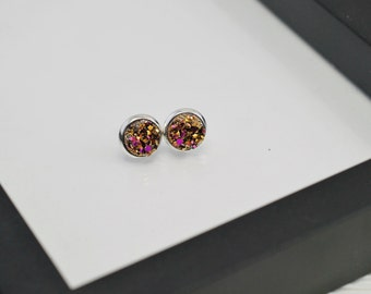Gold Druzy Studs, Druzy Studs, Gold and Pink, Druzy Stud Earrings, Druzy Earrings, Drusy Studs, Small Studs, Faux Druzy Earrings, Faux Plugs