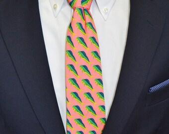 Fish Mens Tie, Mahi Mahi Tie, Coastal Tie, Southern Tie, Preppy Tie, Beach Wedding, Dolphin Tie, Handmade Tie, Unique Tie, Necktie, Original