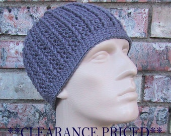 CLEARANCE PRICED - Mens Dark Grey Beanie - Size Medium - Hand Crocheted - Soft Acrylic Yarn - Handmade - Warm Winter Cap