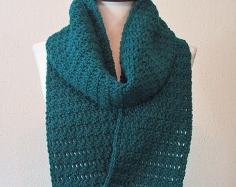 Teal Long Scarf - Hand Crocheted - Soft Acrylic Yarn - Handmade - Ready to Ship - Soft & Warm - Fall Fashion