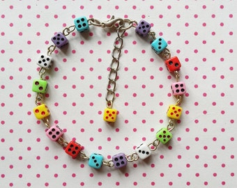 Colorful mini dice bracelet handmade fun jewellery for women and girls great gift - free shipping