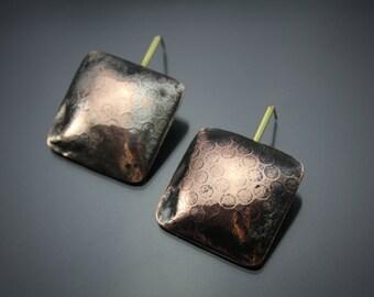copper earrings, mixed metal earrings, copper and brass earrings, rustic metal jewelry, modern earrings, handmade artisan jewelry