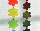 Sun Catcher with Bell, Rainbow Flowers Sun Catcher, Melted plastic beads 3UL4J