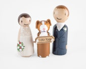 Cake Topper with Dog - rustic cake topper - dog cake topper - peg wedding cake topper - dog wedding sign - peg people cake topper with dog