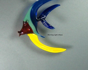 Rainbow Colored Glass Fish - Hanging Art Sculpture - Tropical Sealife