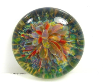 April Showers Glass Cabochon Bead - Large Round Focal - Lampwork Frit Implosion