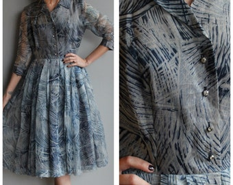 1950s Dress // Feather Print Party Dress // vintage 50s dress