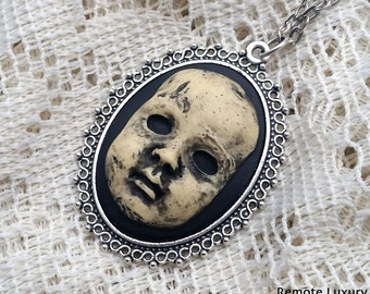 Creepy Doll cameo necklace - Victorian Gothic Steampunk antique oddity jewelry, Nightmare before Christmas, dead baby half doll found object
