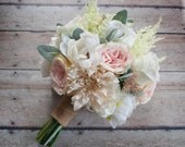 Wedding Bouquet - Blush Pink and Ivory Garden Rose Dahlia and Peony Wedding Bouquet With Burlap Wrap